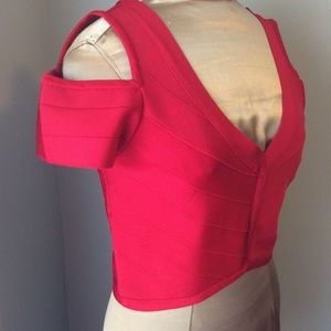 BEBE Cold Shoulder Cropped Bandage Red Midriff Top